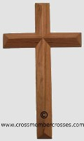 Single Layer Beveled Wooden Cross - Cherry
